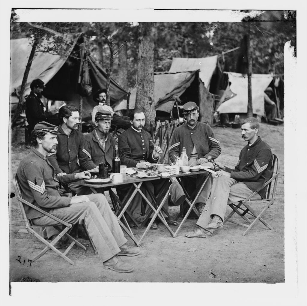 Civil War Federal NCOs enjoying a repast