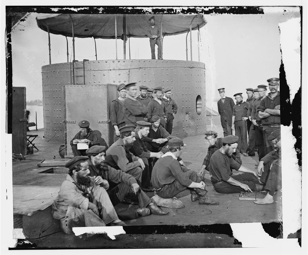 Crew of the USS Monitor in the James River, 1862